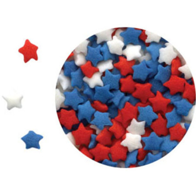 Mini Red White And Blue Star Sprinkles